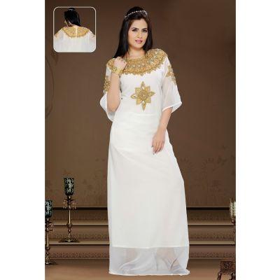 Unique Off White Color Faux Georgette Fashionable Kaftan