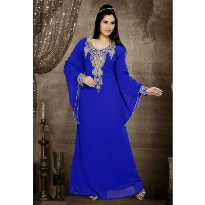 Classic Royal Blue Color Faux Georgette Popular Kaftan