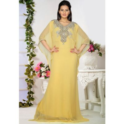 Unique Beige Designer Gown Styles Embroidered Kaftan