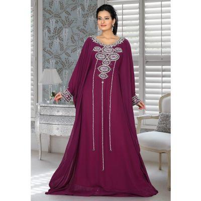 Aesthetic Purple Embroidered Long Kaftan Dresses