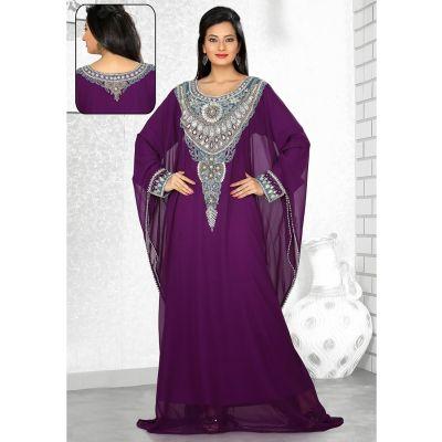 Ravishing Purple Embroidered Kaftan Style Dresses