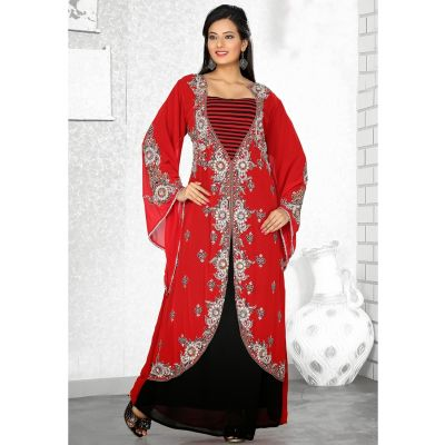 Magnificient Red & Black Jacket Style Embroidered Kaftan