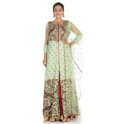 Green And Maroon color Designer Lehnga Choli-Silk Lehenga Choli-Final Sale