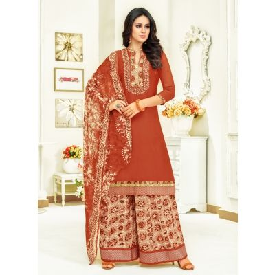 Women Salwar Kameez Red color Plazzo Suits