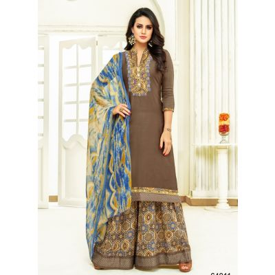 Women Salwar Kameez Brown color Plazzo Suits