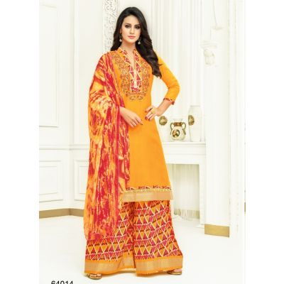 Women Salwar Kameez Yellow color Plazzo Suits