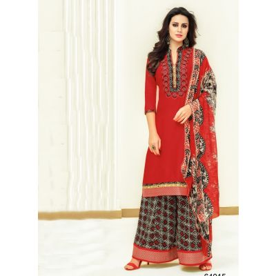 Women Salwar Kameez Red And Black color Plazzo Suits