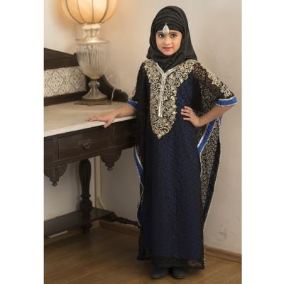 Kids Black and Blue Color Kaftan