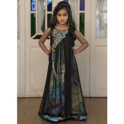 Pestal Color Maxi Dress For Girls