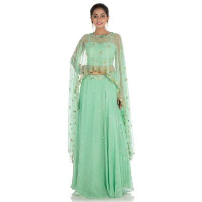 Mint Green color Designer Lehnga Choli-Georgette Lehenga Choli-Final Sale