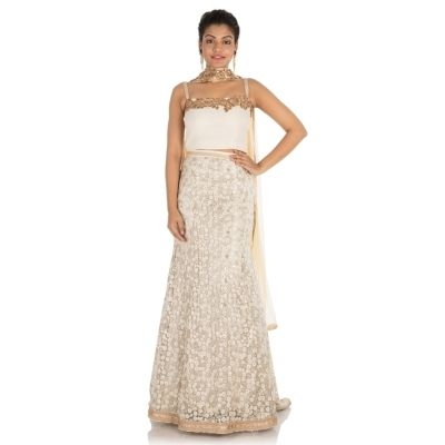 White color Designer Lehnga Choli-Georgette Lehenga Choli-Final Sale