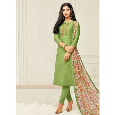 Women Salwar Kameez Green Color Casual