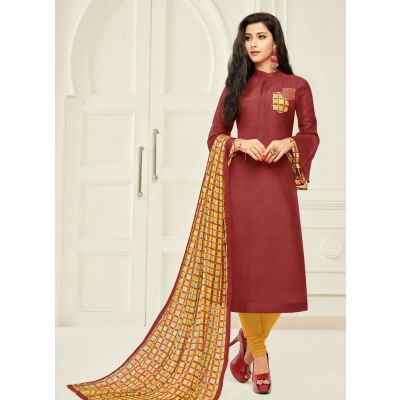 Women Salwar Kameez Red Color Casual