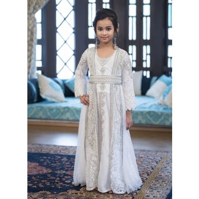 Designer Handmade White Arabic Moroccan Long Sleeve Caftan For Kids