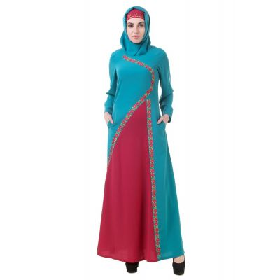 Womens Abaya Green Color Modest Maxi