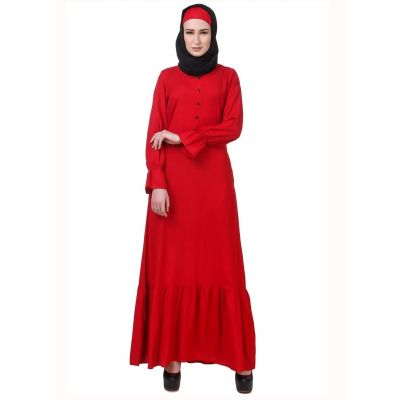 Womens Abaya Red Color Party Wear