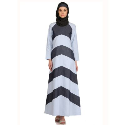 Womens Abaya Blue Color Modest Maxi