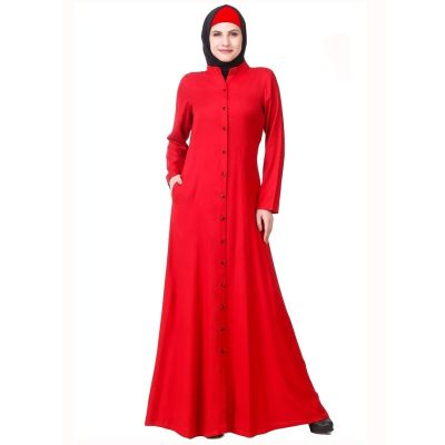 Womens Abaya Red Color Fancy