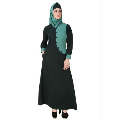 Womens Abaya Green Color Party Wear