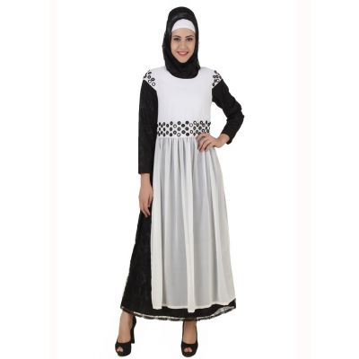 Womens Abaya White Color Party Wear
