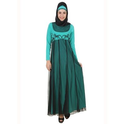 Womens Abaya Green Color Flamboyant