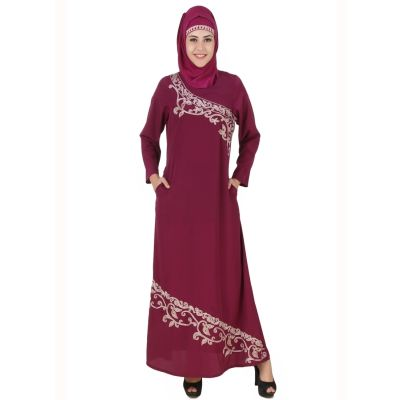 Womens Abaya Pink Color Fancy