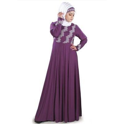 Womens Abaya Purple Color Party Wear