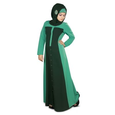 Womens Abaya Green Color Modest Dress