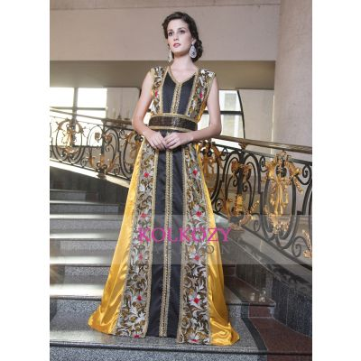 Yellow and Black Color Kaftan Arabic Evening Dress With Lace Work