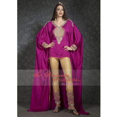 Pink and Gold color Kaftan -Silk Kaftan