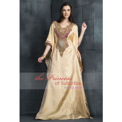 Long Golden Dress with Maroon & Golden colored patch work