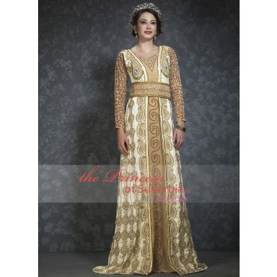 Gorgeous off white and beige colored wedding dress