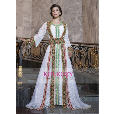 Embroidery and Machine Work Kaftan White Color Net Brasso Arabic Style