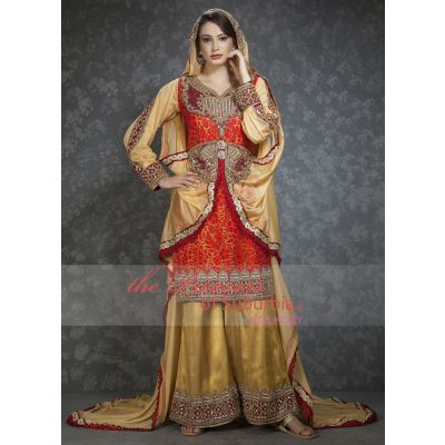 Red,Off White and Gold color Bell bottom dress