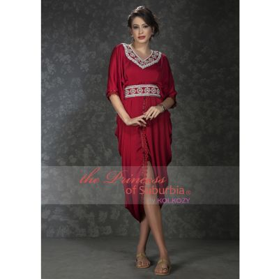 Maroon color pleated dress with hand beaded establishments