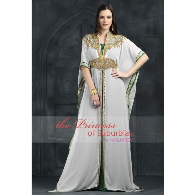 Green & White color long dress with hand work