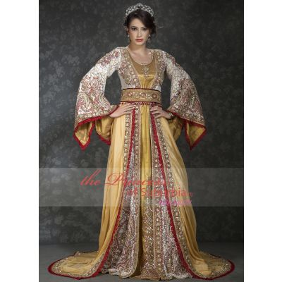 Exclusive Beige Wedding Moroccan Kaftans with Bell sleeve