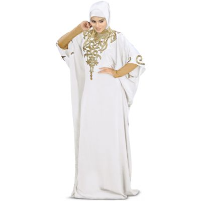 Womens Abaya White Ethnic Nayyab