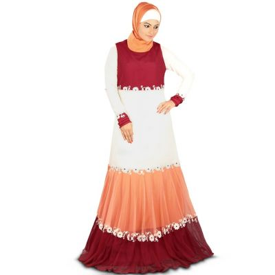 Womens Abaya Fancy Maroon Color