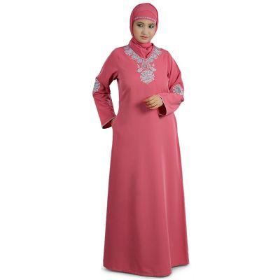 Womens Abaya Pink Color Evening Dress