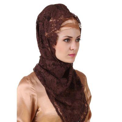Brown color Designer-Net Hijab