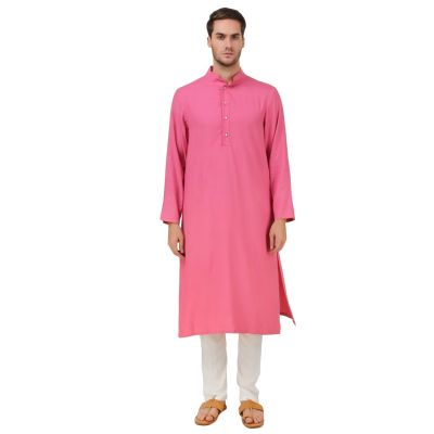Pink and White color Kurta-Rayon Kurta