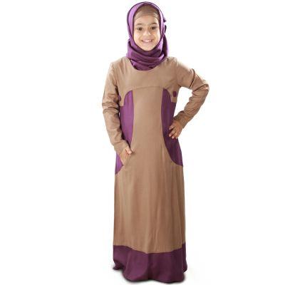 Brown color Kid's-Rayon Kid's Abaya
