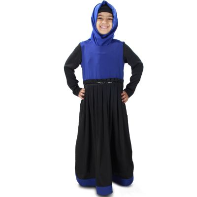 Black and Blue color Kid's-Crepe Kid's Abaya