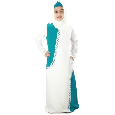 Off white and Green color Kid's-Crepe Kid's Abaya