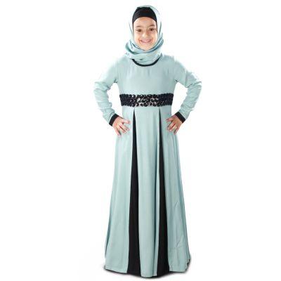 Blue and Black color Kid's-Rayon Kid's Abaya