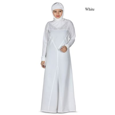 Womens Abaya White Color Rubiya