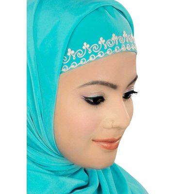 Turquoise color Designer-Crepe Hijab