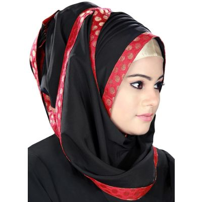 Black color Designer-Crepe Hijab