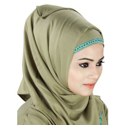 Green color Designer-Rayon Hijab
